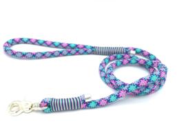 Hondenlijn touw (roze-paars-teal-mint-turquoise)