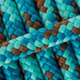 Hondenlijn touw (Blauw-Turquoise-Bruin)