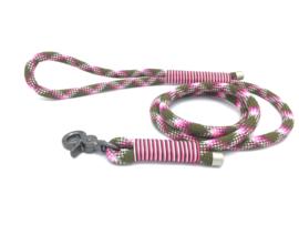 Hondenlijn touw (Olijfgroen-Roze-Licht roze)