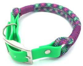 Halsband touw met biothane (groen, paars, roze, zwart)