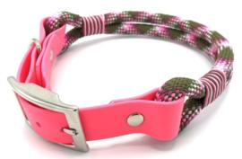 Halsband touw met biothane (roze-licht roze-olijfgroen)