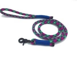 Hondenlijn touw (groen-paars-roze-zwart)