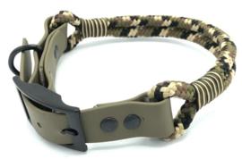 Halsband touw met biothane (Zwart-Bruin-LIcht bruin-Olijfgroen)