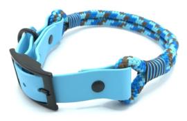 Halsband touw met biothane (blauw-turquoise-bruin)