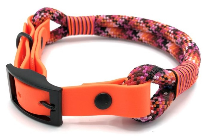Halsband touw met biothane (Licht roze-Roze-Oranje-Rood-Zwart)