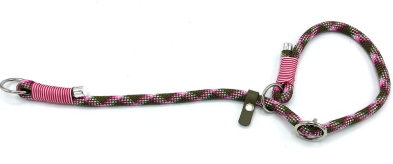Sliphalsband  (roze-licht roze-olijfgroen)
