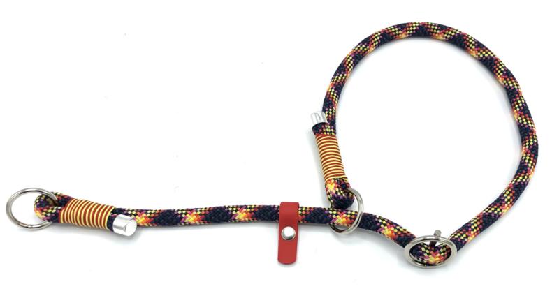 Sliphalsband  (zwart-roze-rood-geel-oranje)