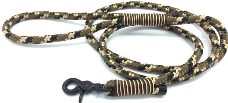 Hondenlijn touw (Zwart-Bruin-LIcht bruin-Olijfgroen)