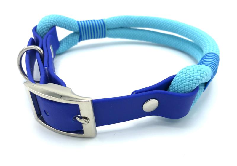 Halsband touw met biothane (turquoise)