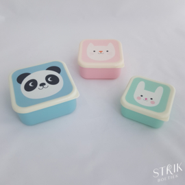 Snackboxen / snackdoosjes set 'panda & friends'