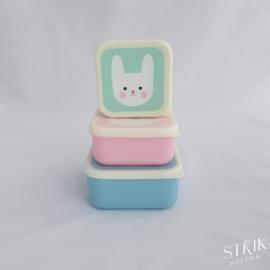 Snackboxen / snackdoosjes set 'panda & friends'