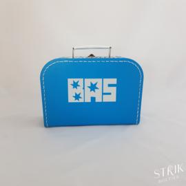 Koffertje blauw met naam of tekst