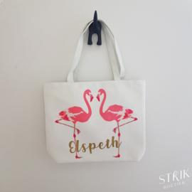 Draagtas flamingo (met of zonder naam)