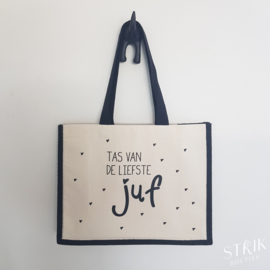 Jute/katoenen draagtas 'Tas van de liefste juf' (2 kleuren)