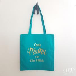 Shoppingtas katoen met eigen naam/quote (verschillende kleuren)