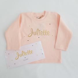Baby t-shirt lange mouwen roze met naam/tekst naar keuze