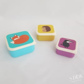 Snackboxen / snackdoosjes set 'Bosdieren'