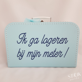 Koffertje XL lichtblauw met naam of tekst
