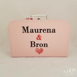 Koffertje XL roze met naam of tekst