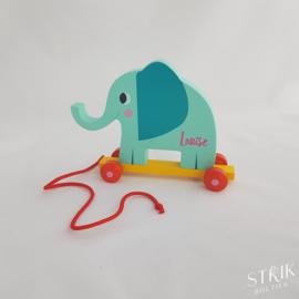 Houten trekdier olifant met naam