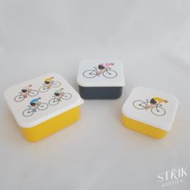 Snackboxen XL / snackdoosjes set 'Wielrenners/fiets'