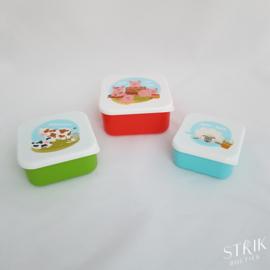 Snackboxen / snackdoosjes set boerderij
