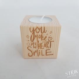Theelichtje 'You make my heart smile'