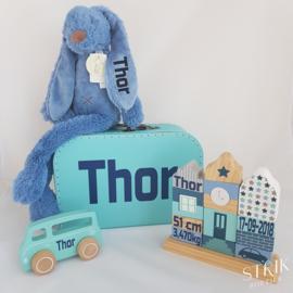 Knuffel konijn 'Richie Rabbit' jeansblauw met naam