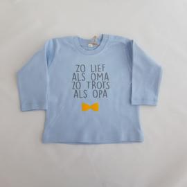 Baby t-shirt lange mouwen blauw met naam/tekst