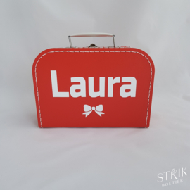 Koffertje rood met naam of tekst