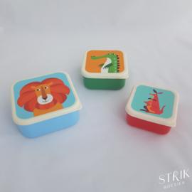 Snackboxen / snackdoosjes set 'Vrolijke dieren'