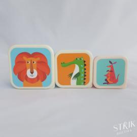 Snack boxen / snackdoosjes set 'Vrolijke dieren'