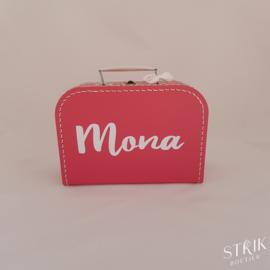 Koffertje fuchsia met naam of tekst