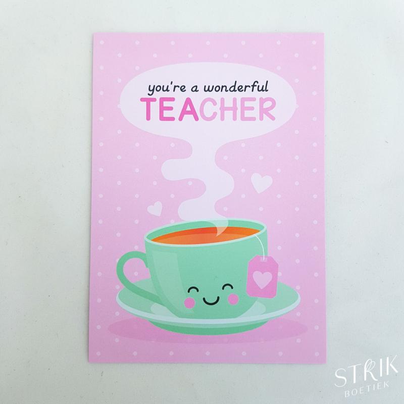 Kaartje 'You're a wonderful teacher'