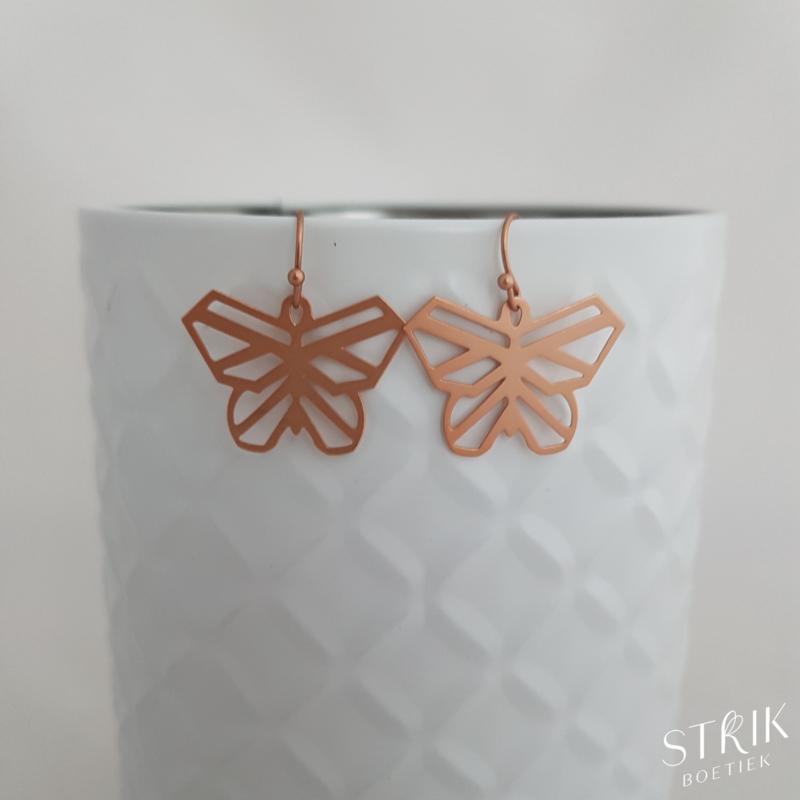Oorbellen 'Butterfly rosé' - Made by San (cat. 1)