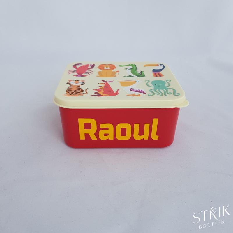 Brooddoos / lunchbox 'Vrolijke dieren' (met of zonder naam)