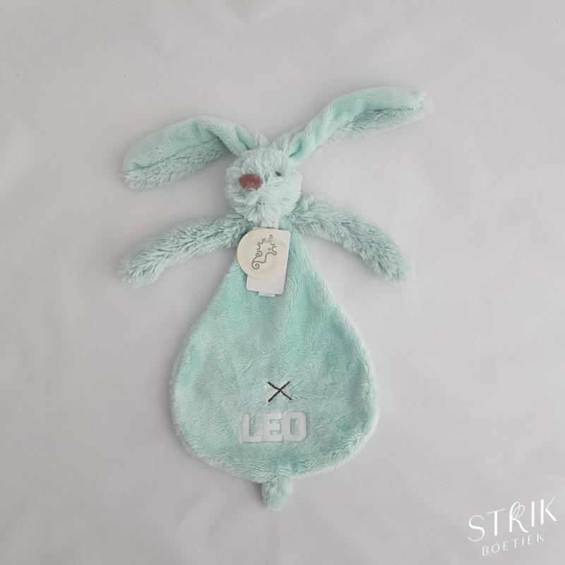 knuffeldoekje/doudou konijn Richie Rabbit mint (met of zonder naam)