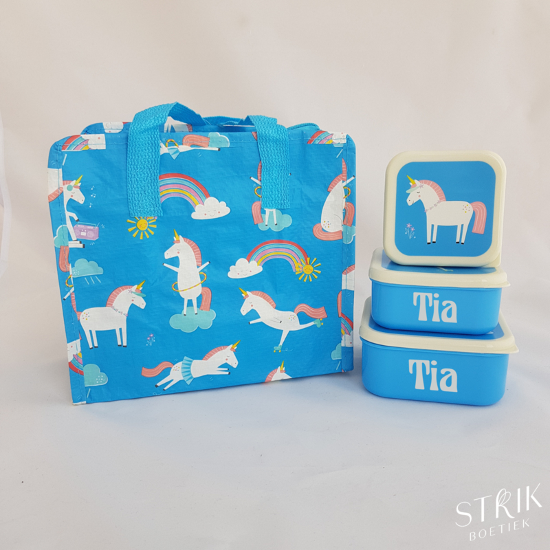 Snack boxen set magical unicorn met naam en tasje