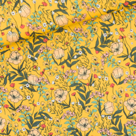 Lycra Summer Flowers Yolk Yellow SYAS