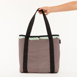 Diagonals Cotton Canvas Gabardine Twill Black & White & Copper