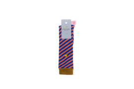 Sticky lemon Socks - Diagonal stripe Ink blue & Peachy pink