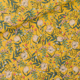 Viscose Summer Flowers Yolk Yellow