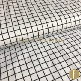 Bio Cotton Tricot Grid Wit Antraciet Stenzo