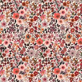 Katoen Poplin Digital Fleurs