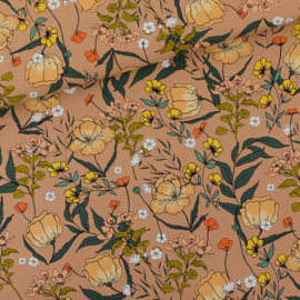 Summer Flowers Camel Brown French Terry SYAS