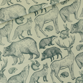Forest Animals Gray Aqua French Terry SYAS