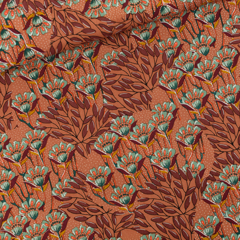 Gilly Flowers Cotton Canvas Sunburn Brown SYAS