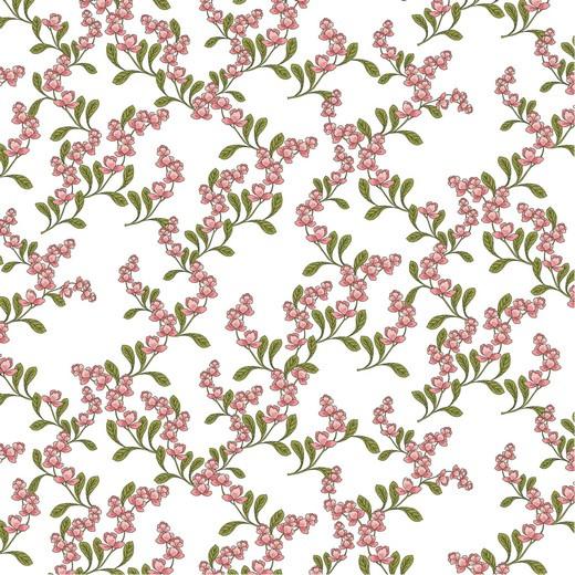 Katoen Poplin Flower | Wit met Roze