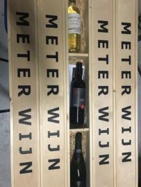 1 meter wijnkist voor 3 flessen met schuifdeksel