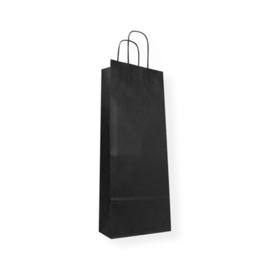 Zwart papieren wijntas met handvat